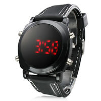 Red LED Digital Wrist Watch Men Sport Waterproof Round Dial Black Silicone Band