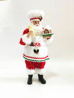 Cooking Santa with Gingerbread House Statue Cloth and Resin Christmas Decortion