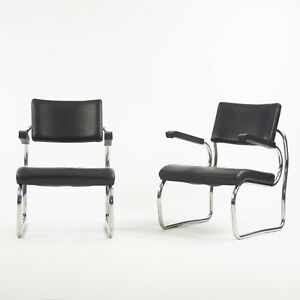 Pair Sant'elia Arm Chairs by Giuseppe Terragni for Zanotta Leather Stainless