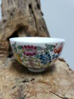 Chinese collectible famille rose porcelain bowl with butterfly