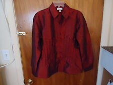 Womens Coldwater Creek Size M Burgundy Button Down Long Sleeve Top With Beads ""