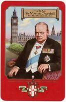 Playing Cards 1 Single Card Old 1955 WORSHIPFUL Co. Sir Winston Churchill Art 2