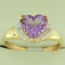 1.65 CT Amethyst Heart Cut Diamond Ring Yellow 10K Gold Size 6 Fashion ring