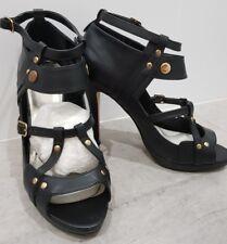 ZU black strappy leather gold stud platform sandal ankle boot open toe pump 8 39