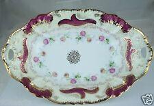 Antique Oval Bowl Gold Rims,Embossed,Pink Rose Garland,Germany