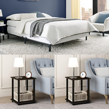Bedroom Set Queen Size 3 Piece Adjustable Bed Frame Full Twin Furniture Black
