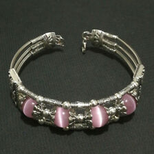 Ladies Jewelry Tibetan Silver Bangle Pink Opal Bead Woman Bracelet Jewellry