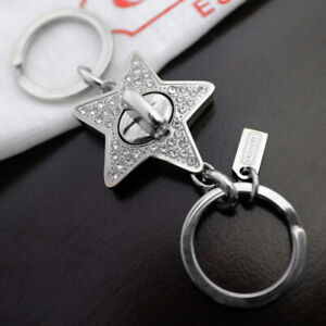 NEW COACH Pave Crystal Star 2-in-1 Valet Keychain Key ring FOB NEW