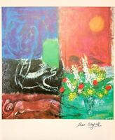 Hand signed Chagall 1973 vintage 48 year old multi-color offset lithograph