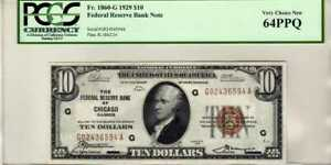 Fr.1860-G $10 1929 Chicago Federal Reserve Bank Note PCGS Choice New 64 PPQ
