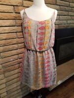 BCBGeneration Dress Casual Multi-Color Spaghetti Straps Womens US Size M Summer