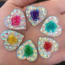 15PCS 24mm AB Resin Heart Shape Rose Rhinestone Resin Flatback Craft DIY