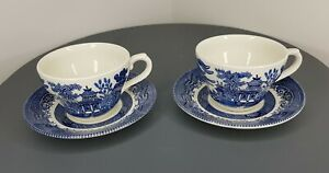Churchil England Willow Pattern Tea Set Cup Saucer Duo x2 Blue White