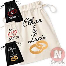 Anillo de boda de algodón orgánico bolso de lazo personalizar los nombres personalizados de añadir su