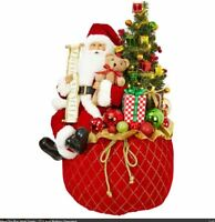 "NEW Raz 22.5"" Lighted Toy Bag with Santa Christmas Decoration Figure 3815542"