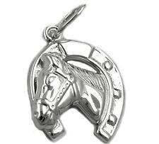 Anhänger 925 Silber Pferd mit Hufeisen (06)