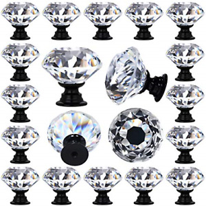 DeElf 12 PCS Clear Crystal Glass Drawer Cabinet Pulls Knobs Diamond Shape for