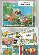 "Lot timbres thematique "" Poissons"" + Blocs"