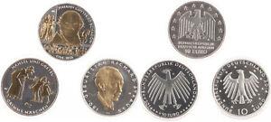 BRD 3 x 10 Euro 2014 - Gedenkmünzen Teilvergoldung - Silber - Stgl. in Kapseln
