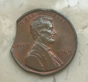 1969 Lincoln Cent Error - Clip Error - 3 Three Clips - Clipped Planchet