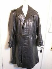 VINTAGE 60's GERMAN HEAVY LEATHER TRENCH COAT JACKET SIZE XL DETACHABLE LINER