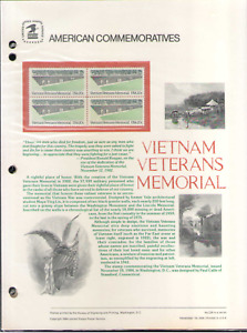US. CP236. 2109. Vietnam Memorial. Commemorative Panel With Hole Sleeve. 1984