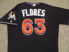 Kendry Flores size 46 #63 2016 Miami Marlins Game Jersey issued alt black patch