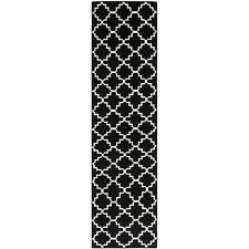 "Safavieh Black/ Ivory Flat weave Wool Runner 2' 6"" x 14'"