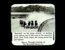 2 Magic Lantern Slides Aqueduct Race Track Horse Racing Tarter Wins 1915 NYC NY