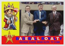 """BASEBALL ROYALTY"" BABE RUTH TY COBB GEORGE SISLER CUSTOM ACEO ART CARD"