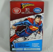 32 Count Superman Valentines Day Cards W/ Stickers & Teacher Card DC Comics Hero
