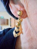 Authentic Vintage 1950's Gold Tone Dangle Openwork Clip Earrings