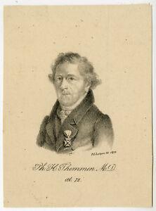 Rare Antique Master Print-PH.H. TEMMEN-PHYSICIAN-PORTRAIT-Lutgers-1829