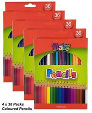 4 Packs x 36 Colour / Coloured Pencils Round Grip Art Colouring Drawing Kids