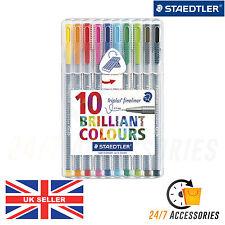 Staedtler 10 Pack 334 SB10 Triplus Fineliner 0.3mm - Brilliant Assorted Colours