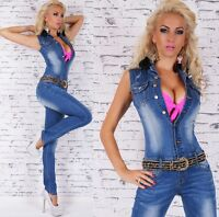 Women's Sleeveless Denim Jeans Jumpsuit Overall + Belt - size Small (US 4)
