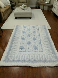 Laura Ashley Twin Comforter Country Rose Floral Roses cottage blue  vtg? Shabby