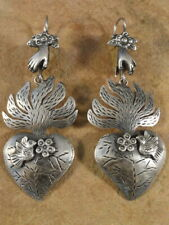 Mexican Mexico Sterling Silver Frida Burning Heart Earrings