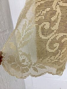 Vintage Hand Crochet Cotton Rectangular Shabby Chic Ecru Beige Table Cloth 56x49