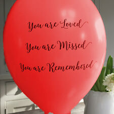 10 Red  'You Are Loved' Biodegradable Funeral Remembrance Condolence Balloons