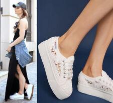 Anthropologie Superga Macrame Lace Platforms Sneakers Sz Us 9.5 Eu 41 White New