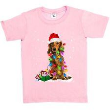 1Tee Niños Niñas perro cubierto de luces de Navidad T-Shirt