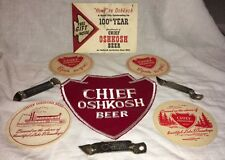Vintage CHIEF OSHKOSH BEER SIGN EMBROIDERED JACKET PATCH COASTERS OPENERS