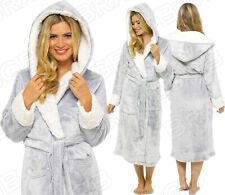 *NEW* LADIES SOFT & COSY HOODED SHIMMER FLEECE DRESSING GOWN ROBE