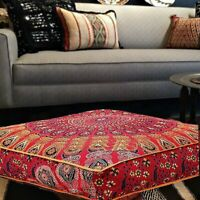 "35"" Indian Cushion Cover Floor Decorative Mandala Square Large Cotton Throw"