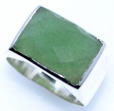 Solido Argento Sterling Da uomo ARGENTO 925 Sigillo Anelli Giada Verde Gemma