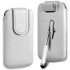Magnetic PU Leather Pull Tab Flip Case & Stylus For HTC Phones