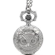 Owl Hunter Head Design Round Pocket Quartz Watch Mens Womens Pendant Necklace