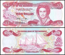 Bahamas 3 Dollars, 1974, P-44a, UNC, Queen Elizabeth II (QEII)