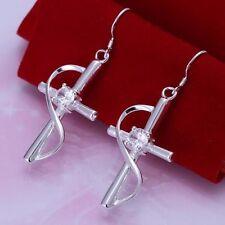 Silver Plated Cross Rhinestone Dangle Earring Women